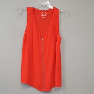 INC Orange Front Zip Sleeveless top